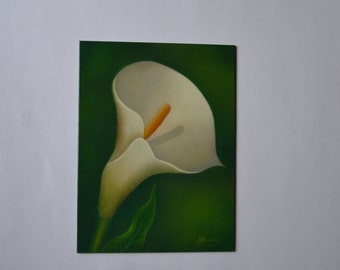 Original 6x8' calla lily painting, still life painting, flower painting, kitchen painting, floral painting, small still life painting