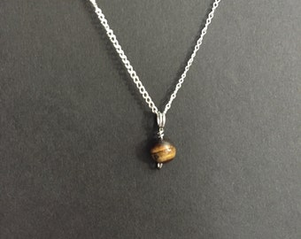Tiny Tiger's Eye Charm Necklace