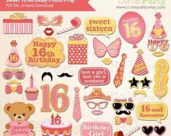 Sweet Sixteen Birthday Party Photo Booth Prop, 16th Birthday Party Printable, Girl Birthday Party Printable