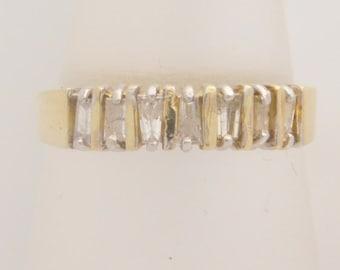 0.25 Carat T.W. Ladies Baguette Cut Diamond Band 10K Yellow Gold Ring