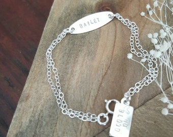 Kids ID bracelet/ stamped / names / initials / dates / medical information / baby jewlery / gift