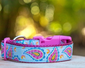 Dog Collar Australia - Paisley Dog Collar / Pastel Dog Collar /Dog Collars Australia - XS-XL Dogs