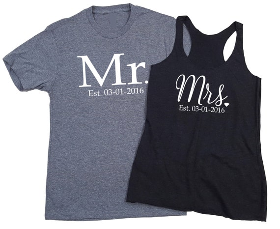 Set of 2 Mr and Mrs Shirt Wedding Day Shirts est. Date Couples Shirts Bride and Groom Shirts Just Married PRIORITY SHIPPING nxIno