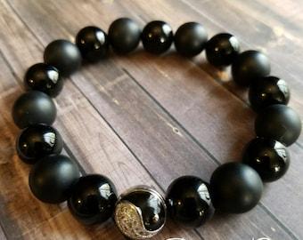 Men's Yin Yang Onyx Beaded Stretch Bracelet *FREE SHIPPING*