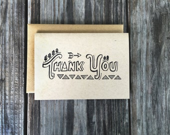 Rustic Thank You Cards, Camping Thank You, Rustic Thank You Notes