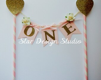 Heart Pink Birthday Cake Topper Birthday Bunting- Paper straw Pink, Gold, Heart