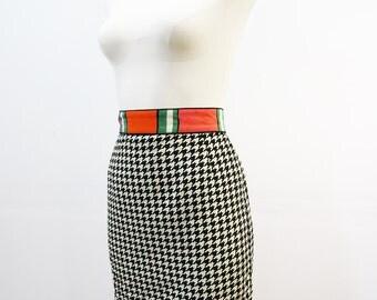 80's Houndstooth Mini Skirt with Color Block Waist Vintage High Waisted Mini Skirt SMALL