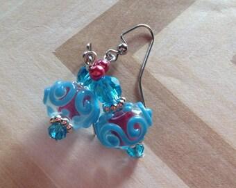 Blue and Rust Red Lampwork Earrings, Glass Earrings, Earrings, Gift Ideas