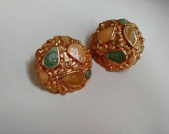 Sale! Vintage Gold Clip-On Earrings w/Enamel Detail