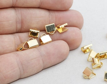 26 Pcs 7mm Gold Plated Ribbon Crimp , Cord End, Fastaners Clasp, srsag , BRT510