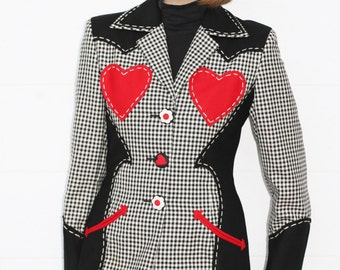 RARE Vintage Franco MOSCHINO Cheap and Chic Houndstooth Love Heart Blazer Jacket