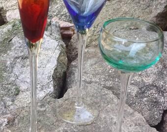 Vintage Glass Stemware Set - Set of 3 (Blue, Red, Teal)