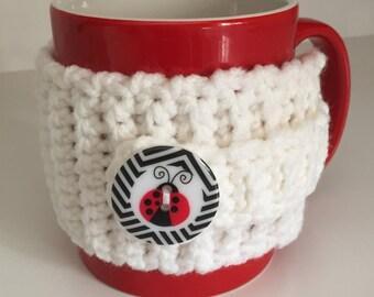 Ladybug mug cozy, ladybug gift, mug hug, mug sleeve, mug insulator, cup cozy, stocking stuffer, teacher gift, ladybug accessory