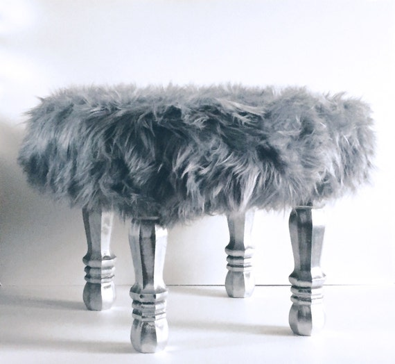 Grey Faux Fur Stool Fur Covered Stool Accent Piece Regency