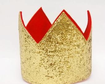 Gold Glitter Crown, Party Crown, Glitter Crown, Children's Crown, King's Crown, Kid's Crown, Party Hat, Photo Prop Crown S/M/L.