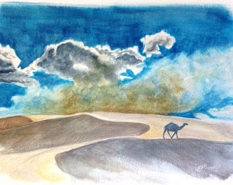 Original Artwork of Desert Clouds, Camel 9X12, Watercolor and Colored Pencil