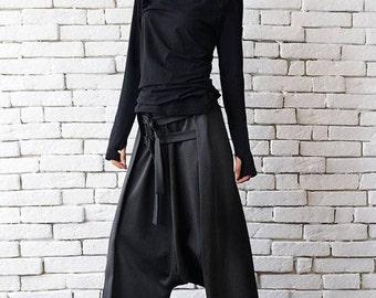 Grey Maxi Pants with Belts / Extravagant Oversize Harem Pants / Drop Crotch Woman Pants by METAMORPHOZA