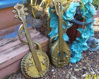 Sexton Goldtone Metal Wall Hanging, Sexton Banjo and Mandolin Wall Art, 1976 Sexton Gold Instruments, Sexton Musical Instruments