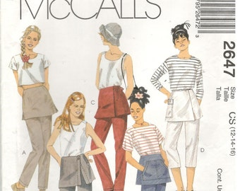 McCall's 2647  Size 12, 14, 16.  Girl's or women's pants or capris sewing pattern.  Pants have attatched overskirt, front or back zipper.