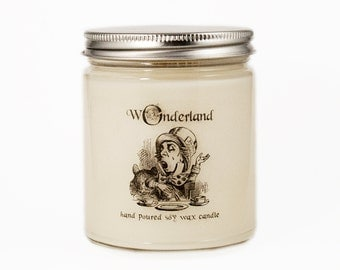 Mad Hatter Candle, Alice in Wonderland Candle, Custom Scented Candle, Alice in Wonderland Gift, Alice in Wonderland Scented Candle