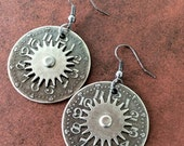 Reproduction Watch Dial Earrings, Watch Part Earrings, Watch Gear Earrings, Steampunk Earrings, Gunmetal Earrings, Round Earrings, Jewelry