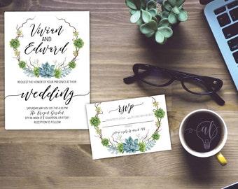 Succulent Invitation   Succulent Wedding   Floral Invitation   Rustic  Wedding   Garden Wedding   Watercolor