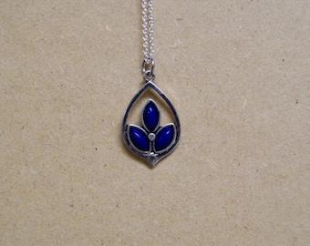 Dark Blue Gem Stone Teardrop Necklace