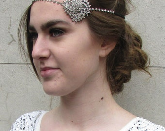 Silver 1920s Diamante Rhinestone Headpiece Vintage Headband Flapper Bridal Great Gatsby Elasticated Bridal Wedding Headdress Dress O50