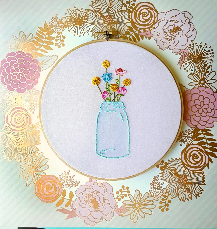 Mason jar embroidery hoop artmason decorembroidery