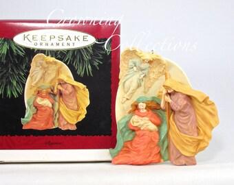 1995 Hallmark Rejoice! Nativity Keepsake Ornament The Holy Family Mary Joseph Baby Jesus Christmas Vintage Love