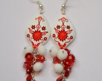 earrings Delicious red&white, filigree, polymer filigree, white dangle earrings, filigree earrings, tender earrings, wedding earrings