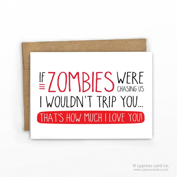 Zombie love funny card anniversary by cypress