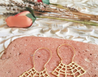 Crochet silver and gold plated earrings