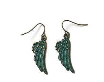 Angel Wing Earrings, Wing Earrings, Patina Earrings, Bronze Earrings, Simple Earrings, Girlfriend Gift Idea, Minimalist Earrings, Bohemian