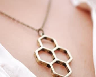 Honeycomb Necklace,  geometric necklace, bronze tone beehive necklace, honeycomb pendant, bee jewelry