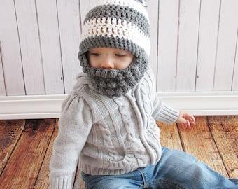 Custom Beard Pompom Crochet Hat, Bobble beard hat, Baby beard hat, Infant beard hat