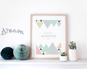 "Graphic poster ""Time for adventure"" - scandinavian inspiration, modern, design illustration, triangle, mountains"