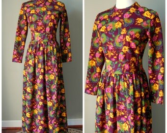 1970s Paisley Long Sleeved Maxi Dress