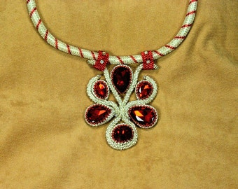 Red Crystal and silver beaded Necklace