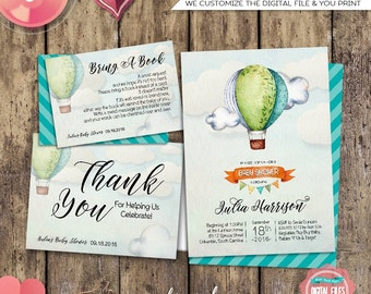 "Baby Shower Suite ""Up and Away"" (Printable FIle Only) Watercolor Hot Air Balloon Up Up & Away Invite Bring A Book Card Diaper Raffle Green"