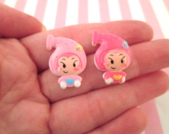Assorted Pink Girl Cabochons, Cute Kawaii Cabs for Decoden, #527A