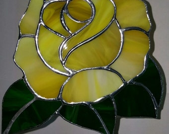 "Stunning Yellow Rose Suncatcher, Full Bloom Rose Shaped, Large, Beautiful And It Will Never Wilt!  6"" L  and 5"" W"