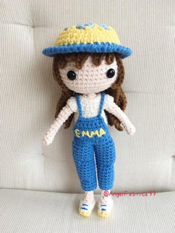 Crochet Amigurumi Doll Head : Crochet amigurumi doll Custom name girl Blue jumper overall