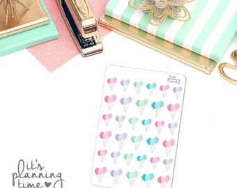 Balloons Birthday Planner Stickers- 33 count