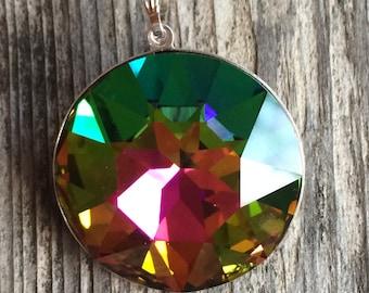 Large Green Swarovski Necklace, Rainbow Green Swarovski Crystal Necklace, Swarovski Round Necklace
