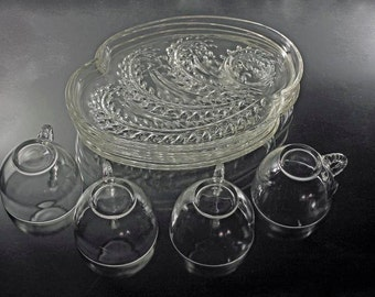 Snack Set, Federal Glass, Homestead Pattern, Wheat Design, Set of 4, Clear Glass, Palette Shaped, Plates and Cups, Luncheon Sets