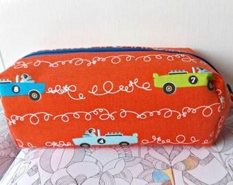 Car Pencil Case, Childrens Pen Bag, Boys Pencil Case, Colouring Accessories, Orange Cars Bag, Zipped Pouch, Pencil Holder, School Bag