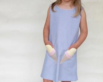 Applique IceCream Cone Chambray Shift Dress