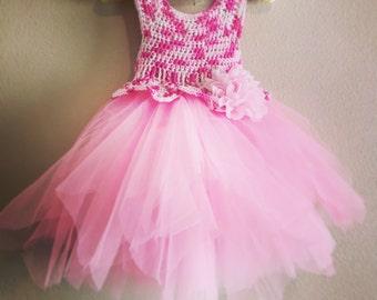 Crochet Dress with tulle Tutu - Aurora
