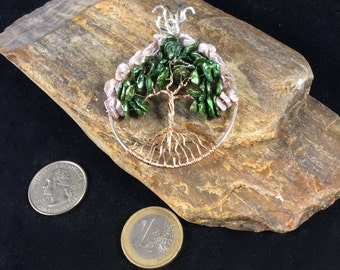 Pearl and Rose Gold Tree of Life Pendant, Flowering Tree of Life Pendant, June Birthstone, Pearl Necklace, June Tree of Life Pendant, Silver